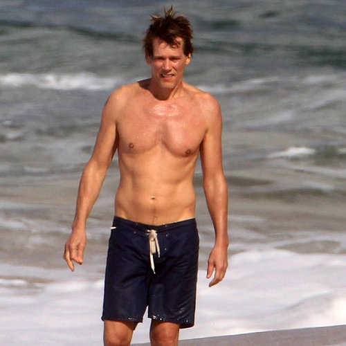 Shirtless Kevin Bacon and Kyra Sedgwick Back Tattoo Photos