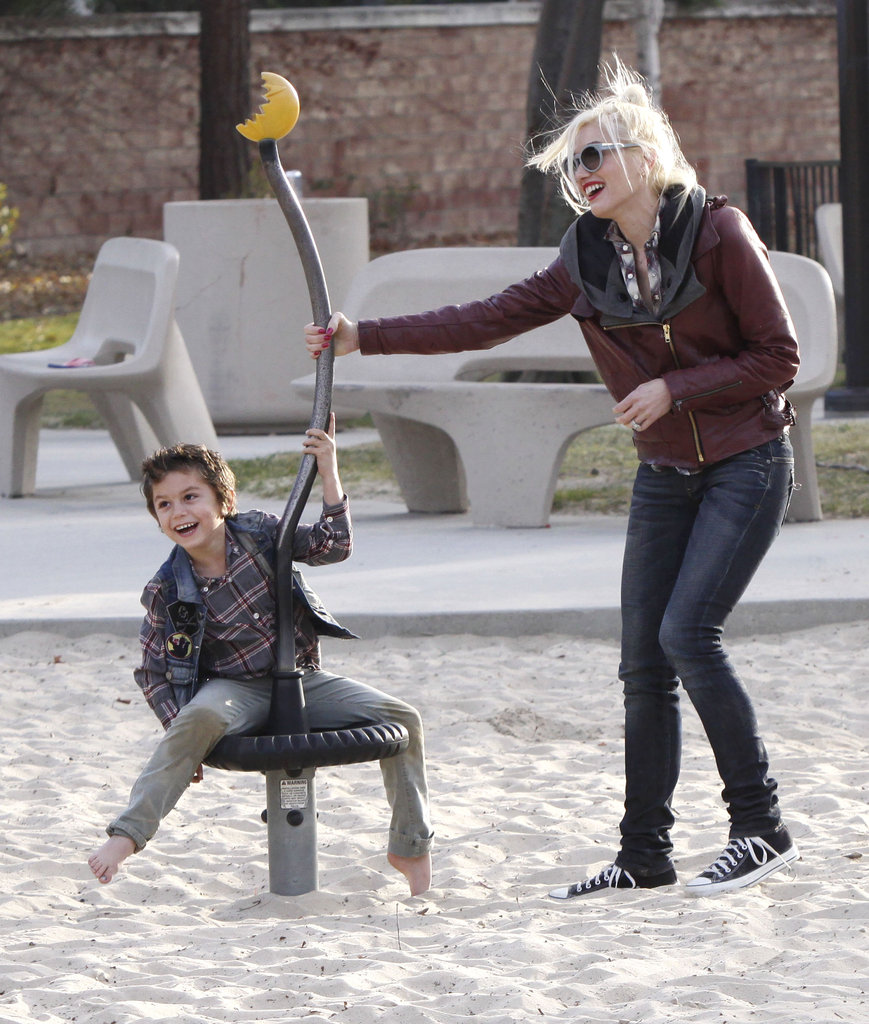 Gwen Stefani helped Kingston Rossdale slow down.