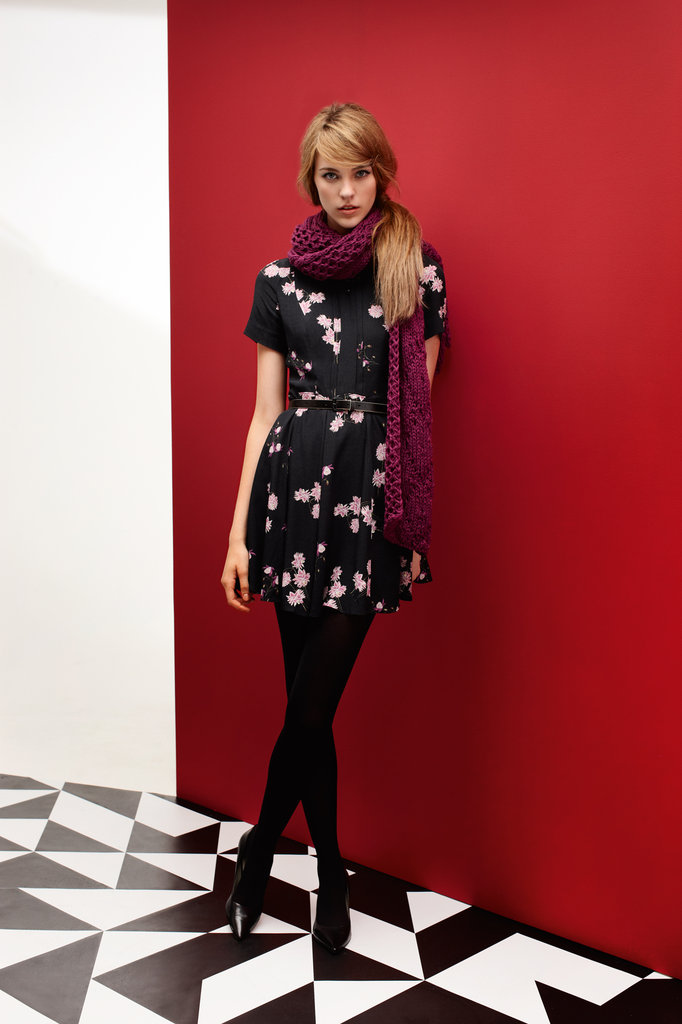 Winter Bloom Dress $279, Cable Scarf $69 and Buckle Belt $49.