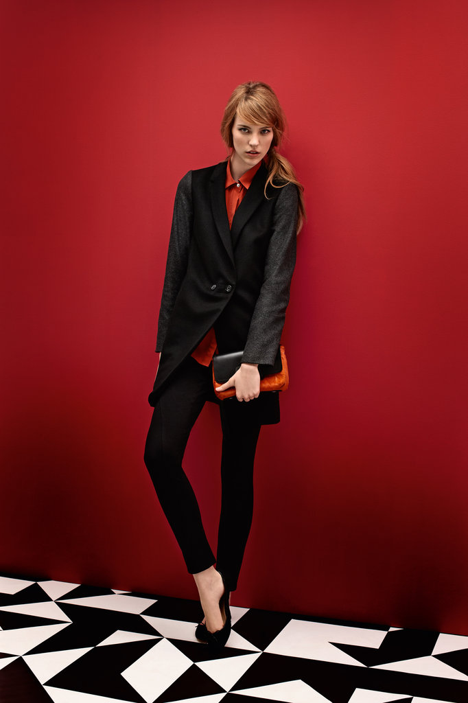 Contrast Sleeve Coat $399, Pocket Shirt $149, Treggings $119, Pony Clutch $149 and Ballerina Flats $129.