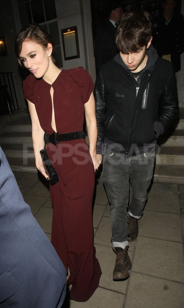 Keira Knightley left 34 restaurant with her boyfriend James Righton in London.