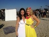 Courteney Cox and Busy Philipps hit the beach for Cougar Town in February. Source: Twitter User courteneycox