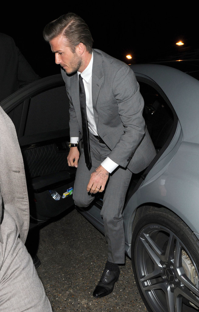 David Beckham arrived at a party for his H&M line in London.
