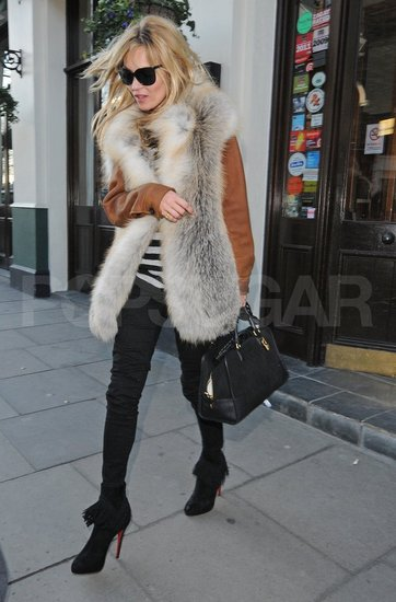 Kate Moss headed home after a lunch.