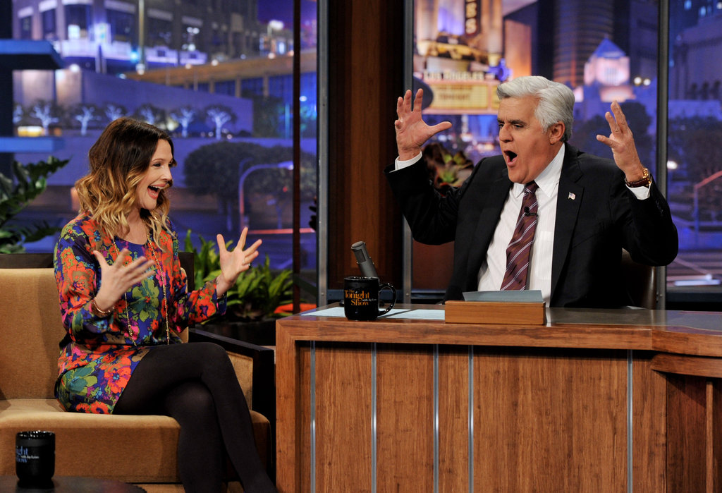 Drew Barrymore chatted with Jay Leno.