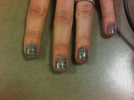 Louise Roe got her newsprint nails done at Bloomingdales!