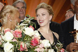 Scarlett Johansson smiled at the 47th Golden Camera Awards in Berlin, Germany.