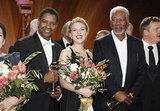 Denzel Washington, Morgan Freeman, and Scarlett Johansson posed for a final picture at the 47th Golden Camera Awards in Berlin, Germany.