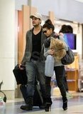 Eva Longoria and boyfriend Eduardo Cruz traveled from LAX.