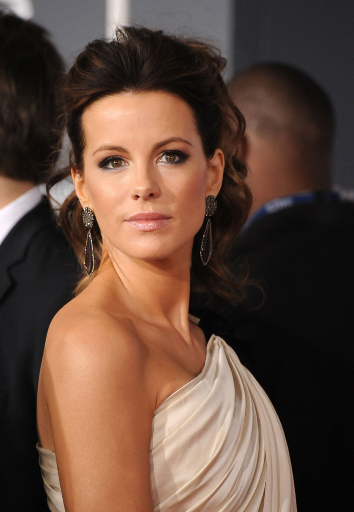 Kate Beckinsale in a one-shoulder gown at the Grammys.