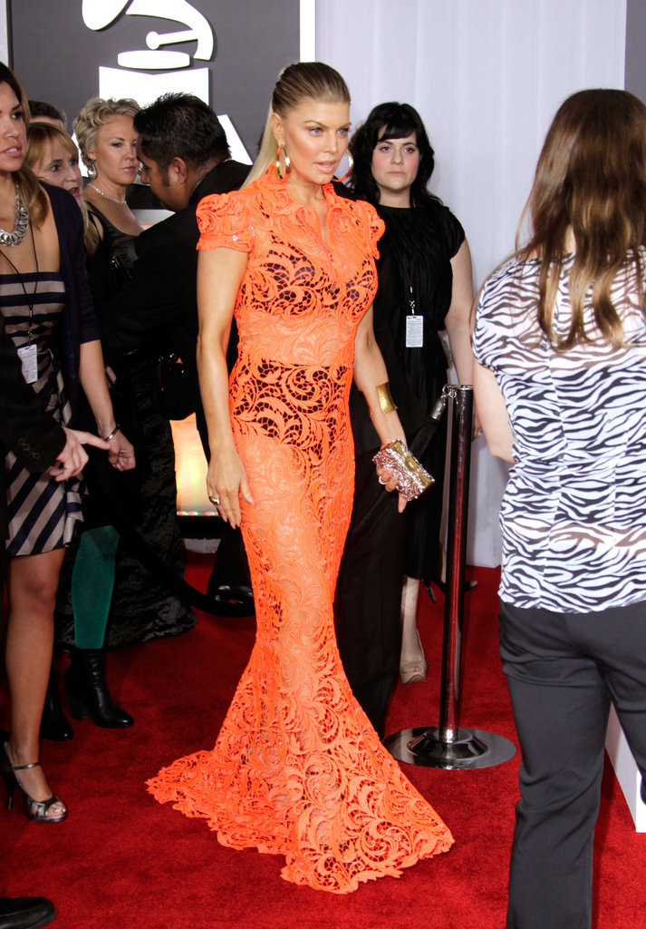 Fergie wore a see-through Gaultier dress.