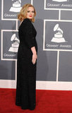 Adele in a black gown at the Grammys.
