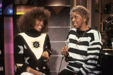 Whitney and her mom, gospel singer Cissy Houston, tape a show for MTV in 1989.