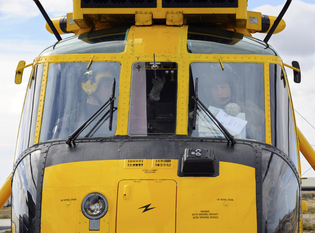 Prince William took off in a helicopter from the Mount Pleasant Complex, Falkland Islands.