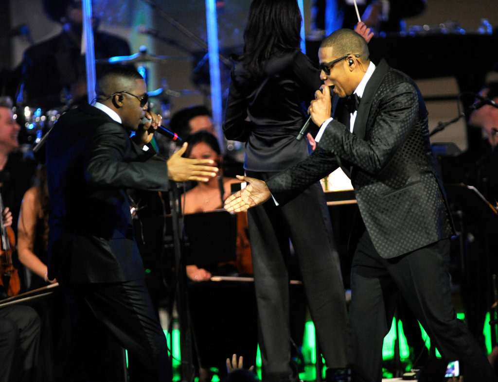 Jay-Z performing at Carnegie Hall with Kanye West.