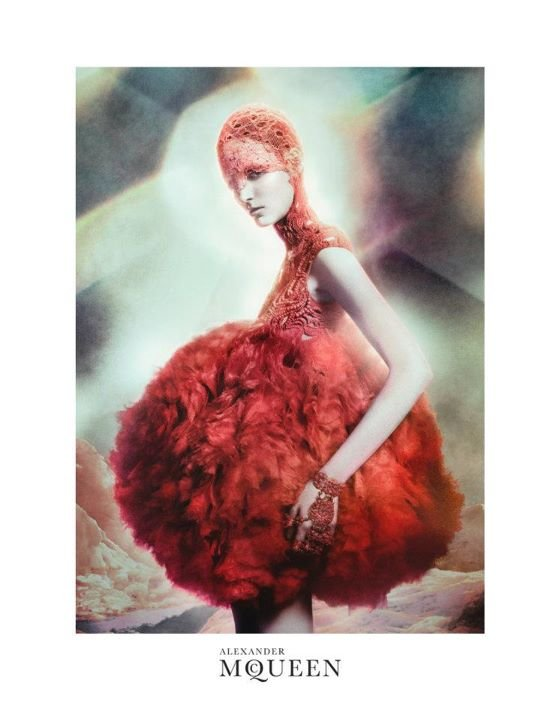 We love this giant baby doll pouf ball in Alexander McQueen's ethereal campaign.