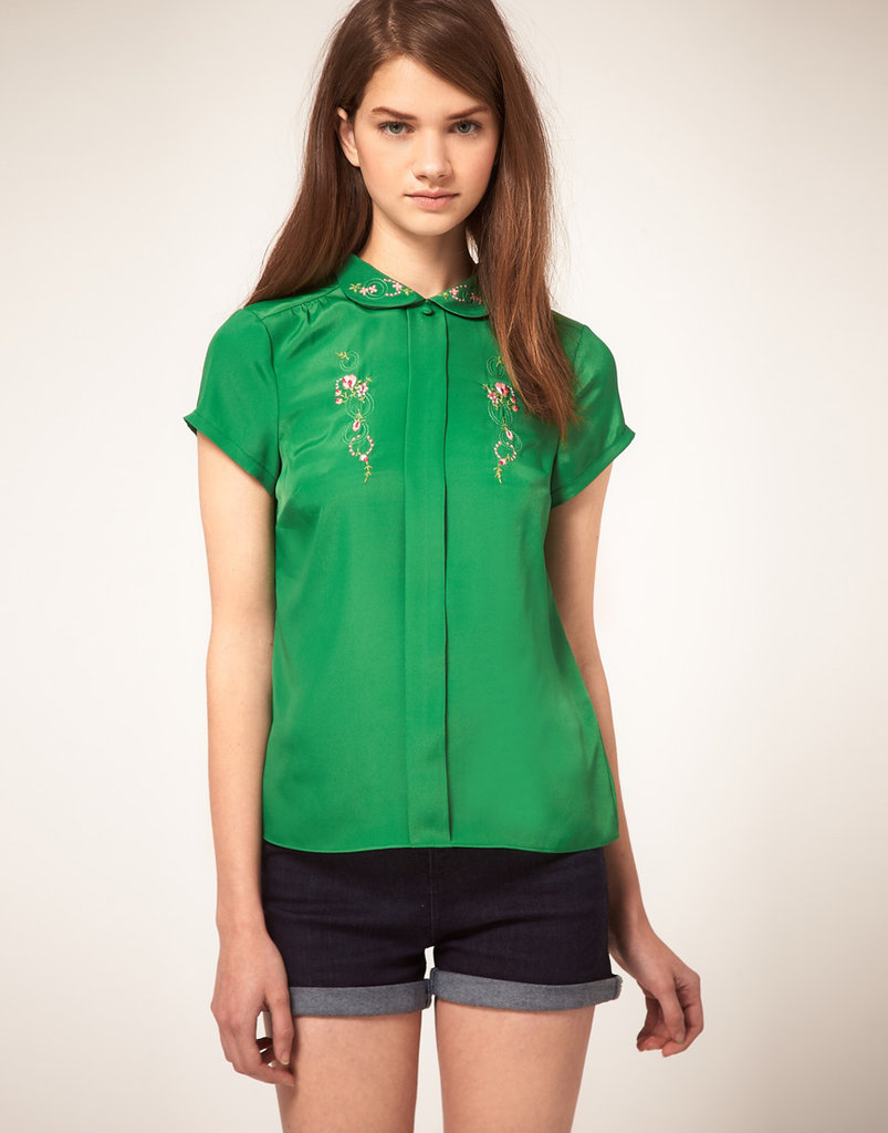 We love the gorgeous emerald hue and the slightly Asian-inspired feel of this find.  Asos Embroidered Blouse With Peter Pan Collar ($54)
