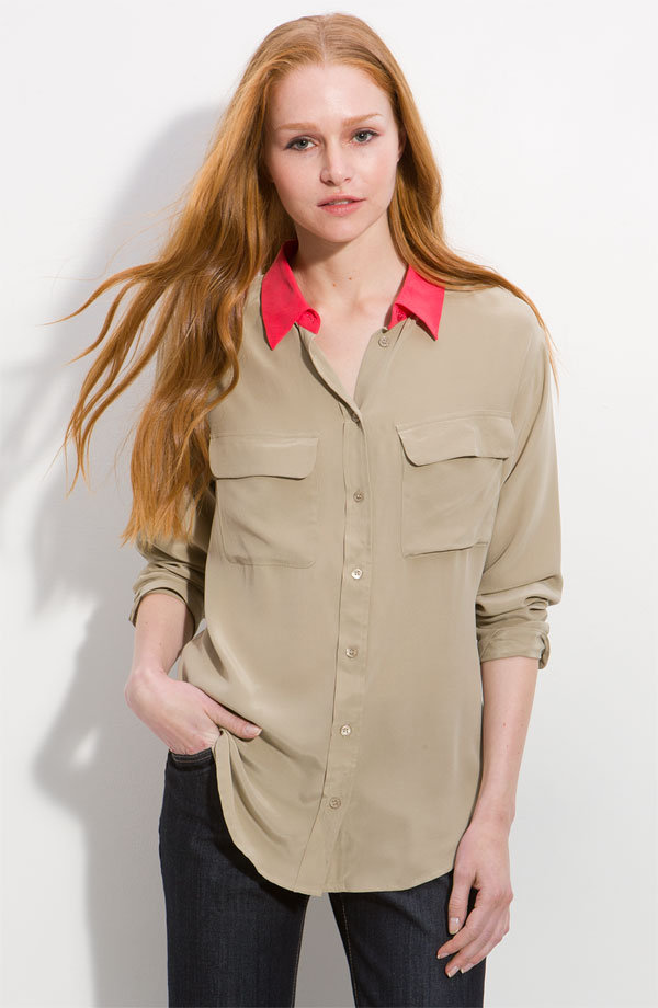 A staple button-up infused with just a splash of Spring color.  Equipment Contrast Collar Silk Field Blouse ($218)