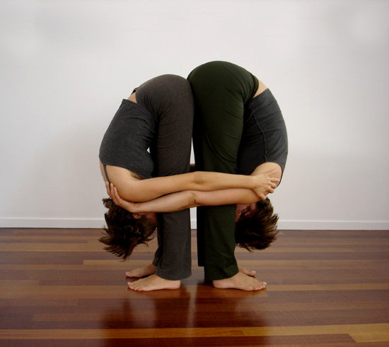 Partner Yoga Pose: Double Standing Forward Bend | POPSUGAR Fitness