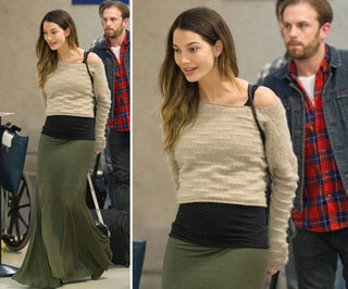 Lily Aldridge Army Green Maxi Skirt