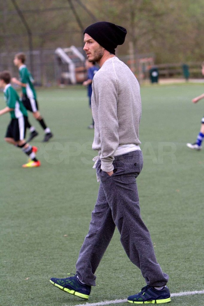 David Beckham showed up for Brooklyn Beckham's soccer practice.