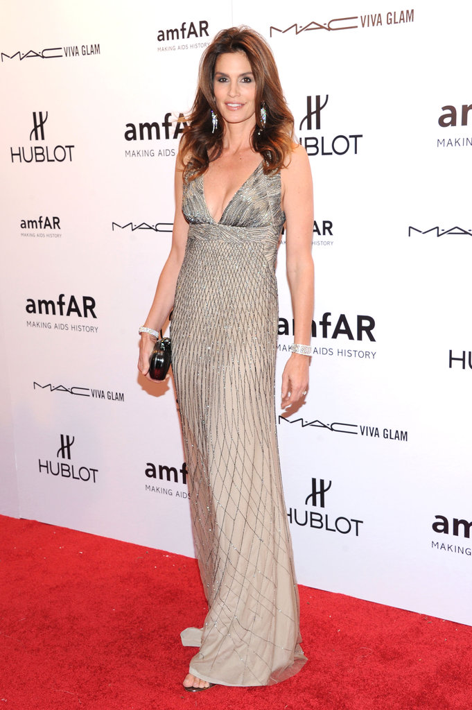 Cindy Crawford wore Roberto Cavalli to the 2012 amfAR gala in NYC.