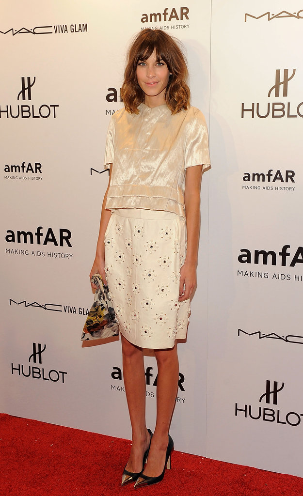 Alexa Chung wore white to the 2012 amfAR gala in NYC.