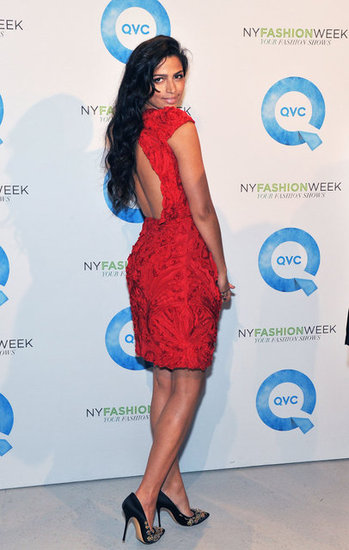 Camila Alves in a red dress in NYC.