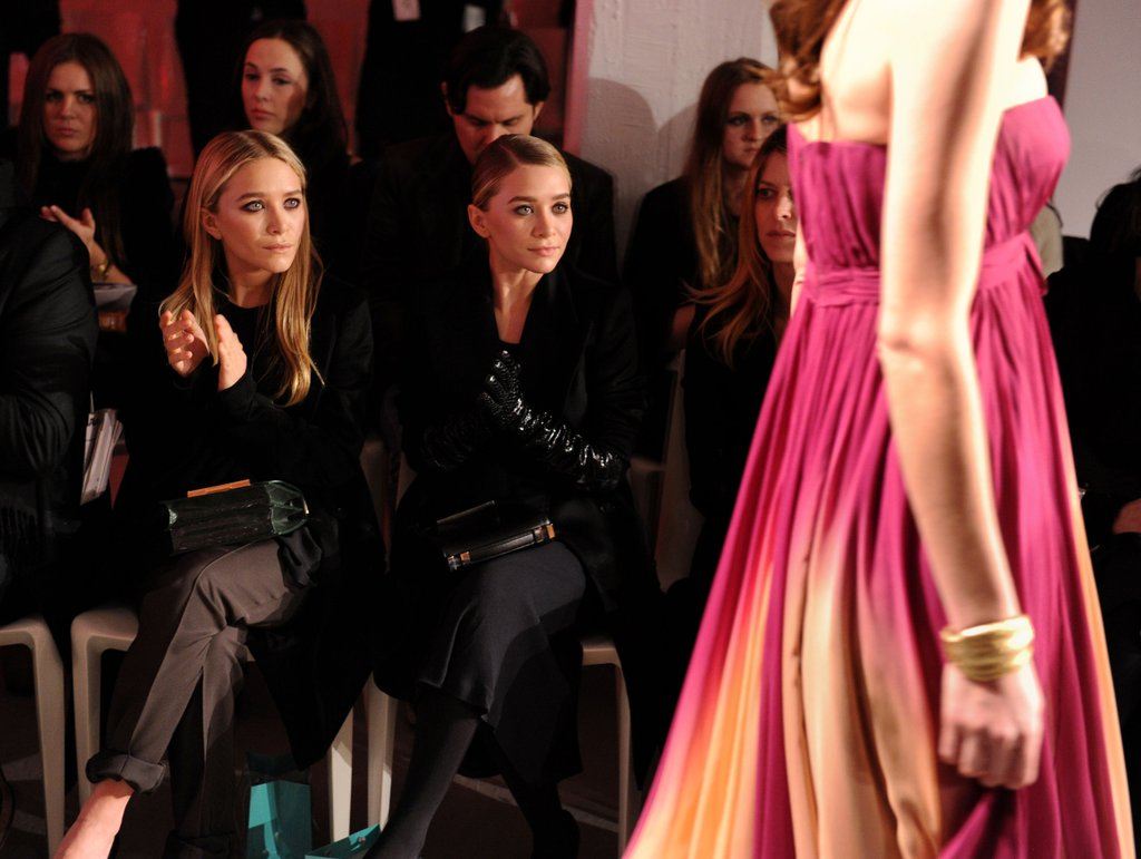Mary-Kate Olsen and Ashley Olsen at QVC's runway show.  Photo courtesy of worldredeye.com