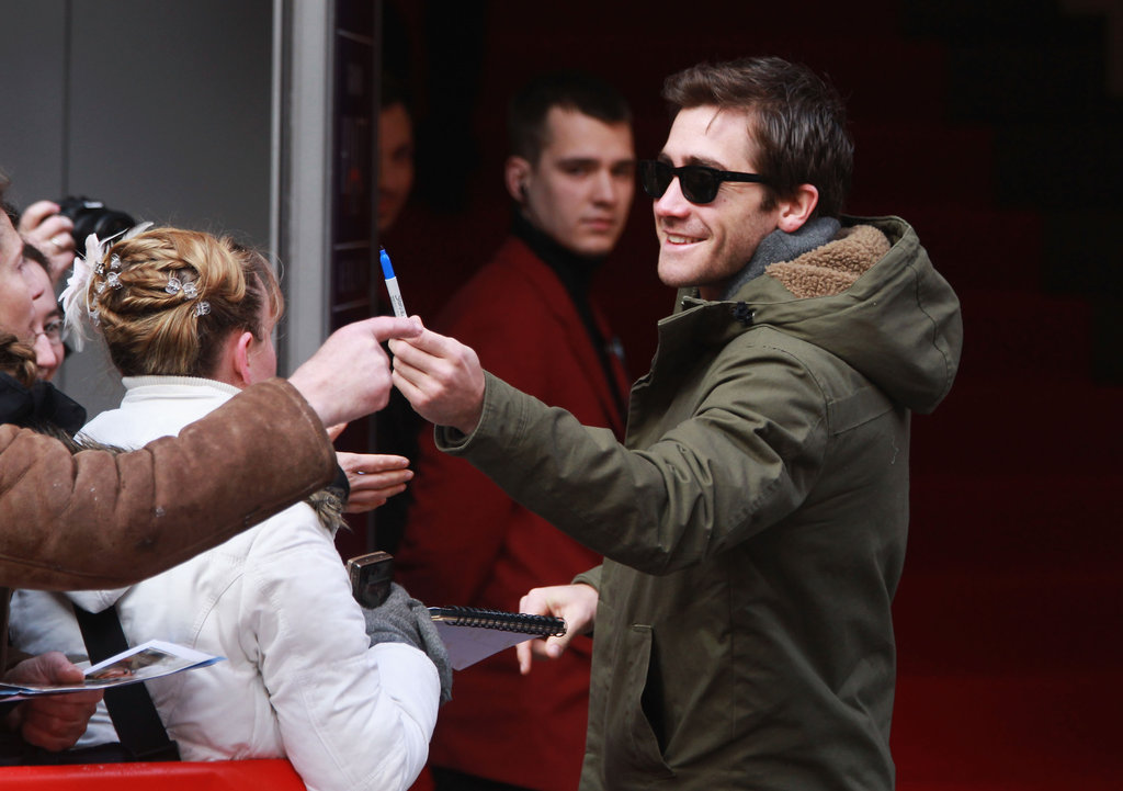 Jake Gyllenhaal was friendly to fans in Berlin.