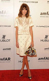 Alexa Chung opted for a sweet textured skirt and blouse by Louis Vuitton.