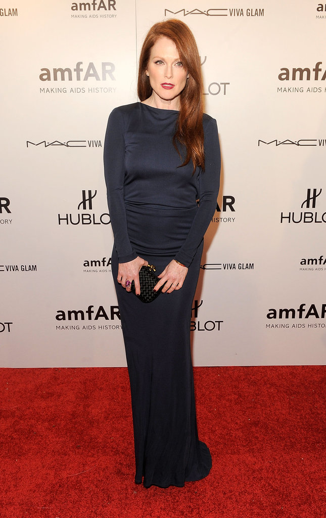 Julianne Moore channeled a moody evening look in long-sleeved Roberto Cavalli.