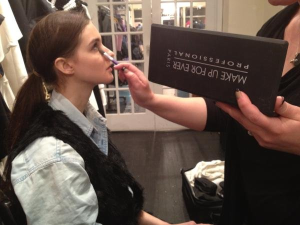 Behind-the-scenes makeup preparations before NYFW! Twitter User: Cynthia_Rowley