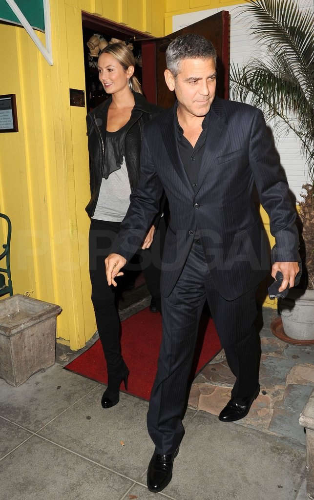 George Clooney and Stacy Keibler left Dan Tana's.