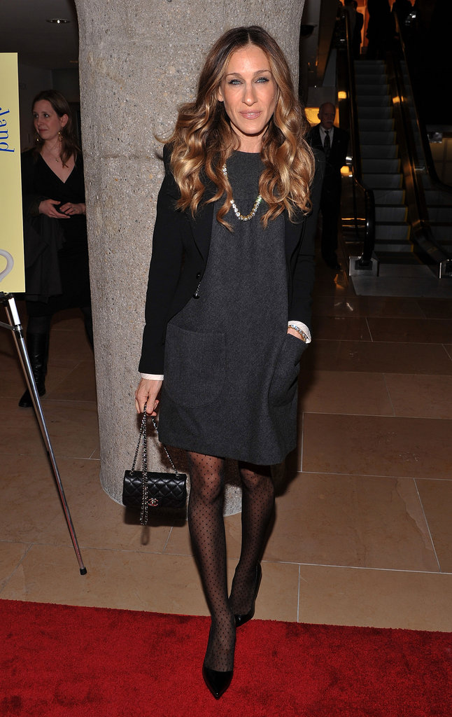 SJP styled up a sophisticated take on a sheath for a night out in NYC.