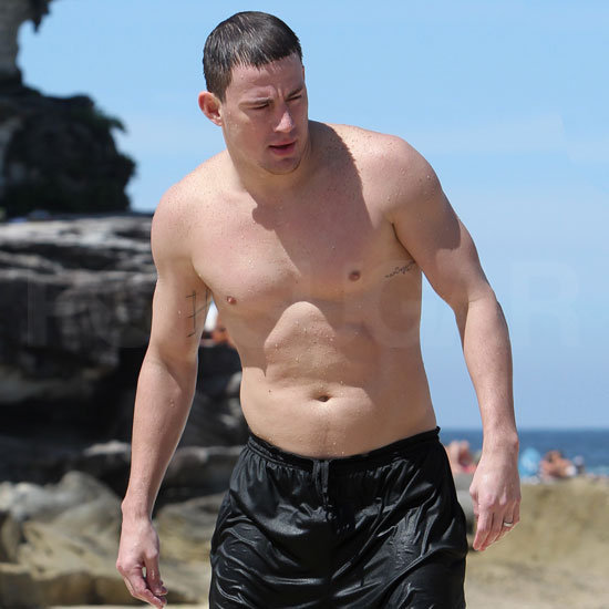 Channing cooled off in the ocean with a swim.