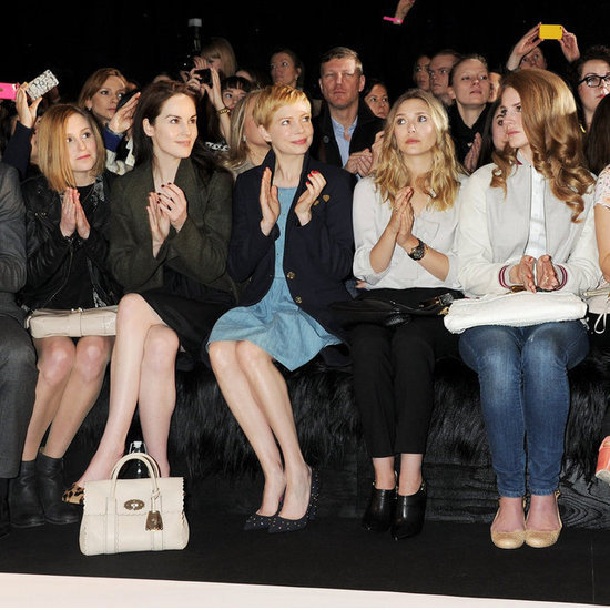 Laura Carmichael, Michelle Dockery, Michelle Williams, Elizabeth Olsen and Lana Del Rey at Mulberry