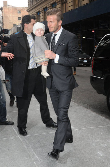 David and Harper Beckham went to mom Victoria's show.