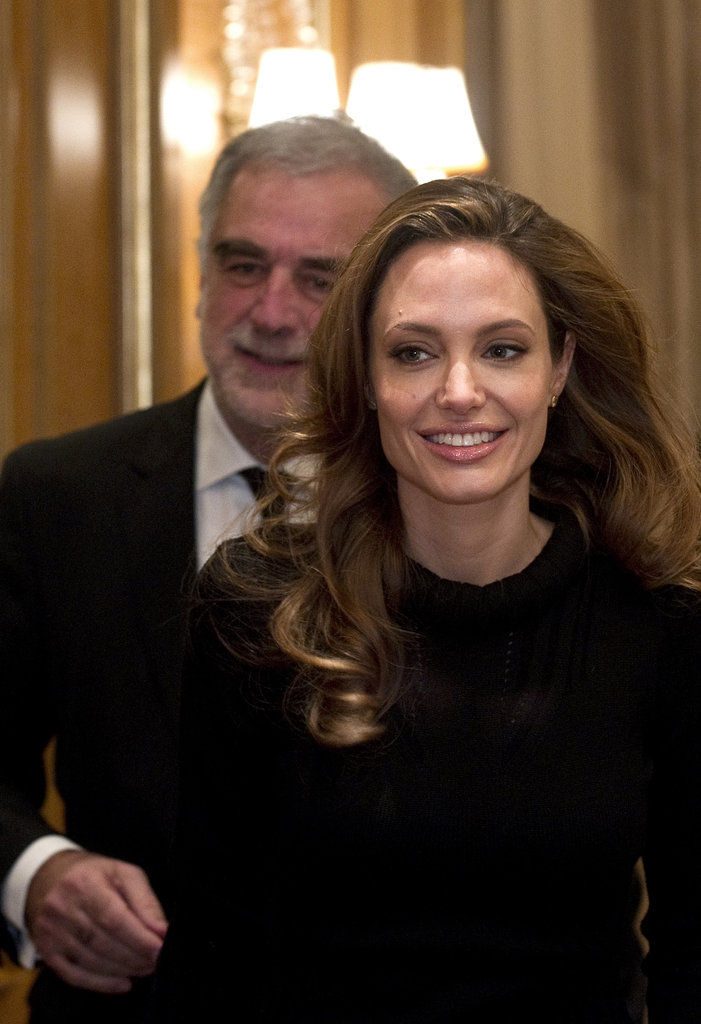 Angelina Jolie stepped out in a Berlin hotel.