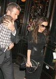 David Beckham and Victoria Beckham left Balthazar in NYC with Harper Beckham.