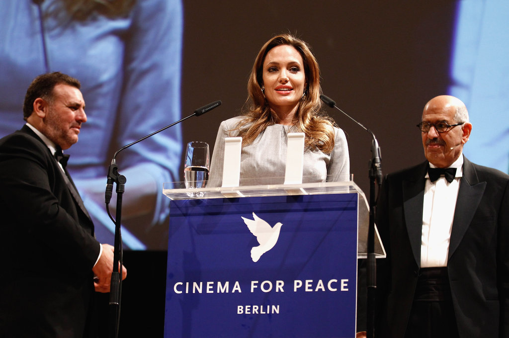 Angelina Jolie took the stage at the Cinema for Peace event at the Berlin Film Festival.