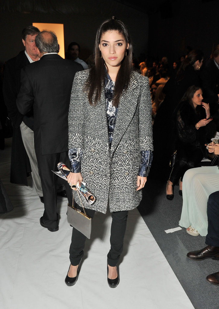 Amanda Setton in a sharp tailored coat and trousers at the Ruffian runway show.