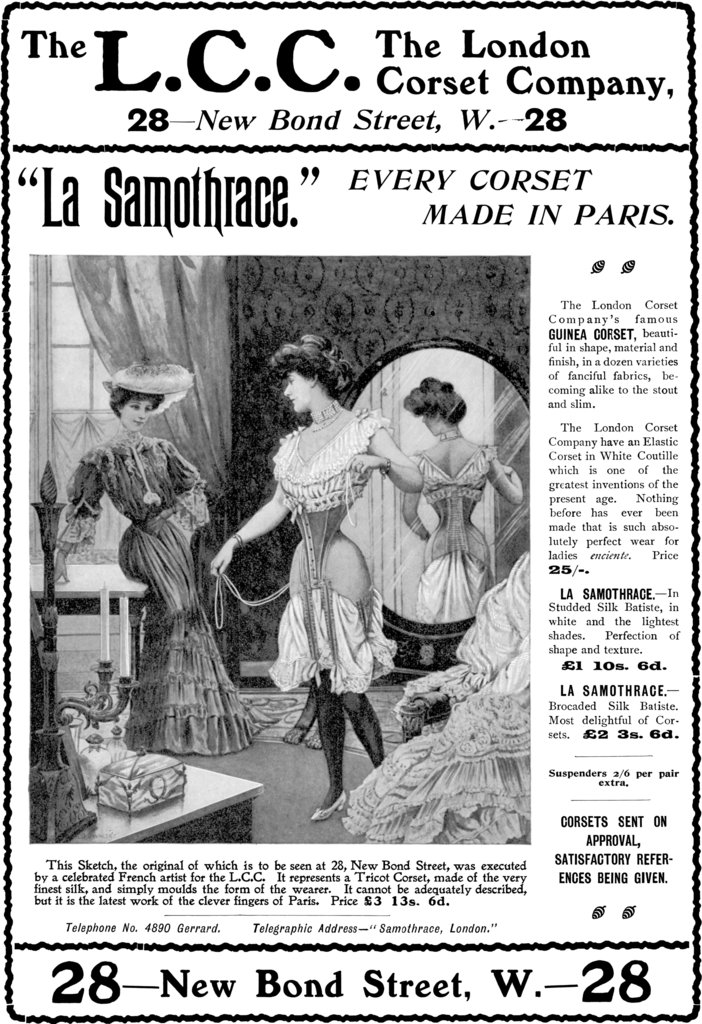 Here's a 1908 advertisement for corsets.