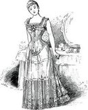 Here's the look of a woman in her corseted dress in 1878.
