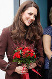 Kate Middleton accepted flowers in Liverpool.