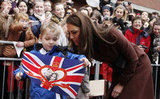 Kate Middleton checked out her image on a flag.
