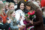 Kate Middleton greeted a young girl.