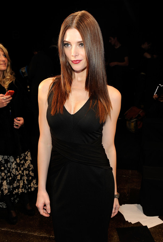 Ashley Greene wore black to NYFW.