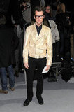 Brad Goreski opted for a gilded moto jacket at Marc Jacobs.