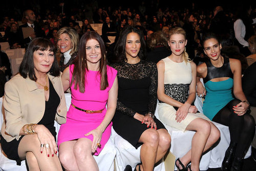 Anjelica Huston, Debra Messing, Paula Patton, Amber Heard, and Jessica Alba were the famous faces seated in the front row.